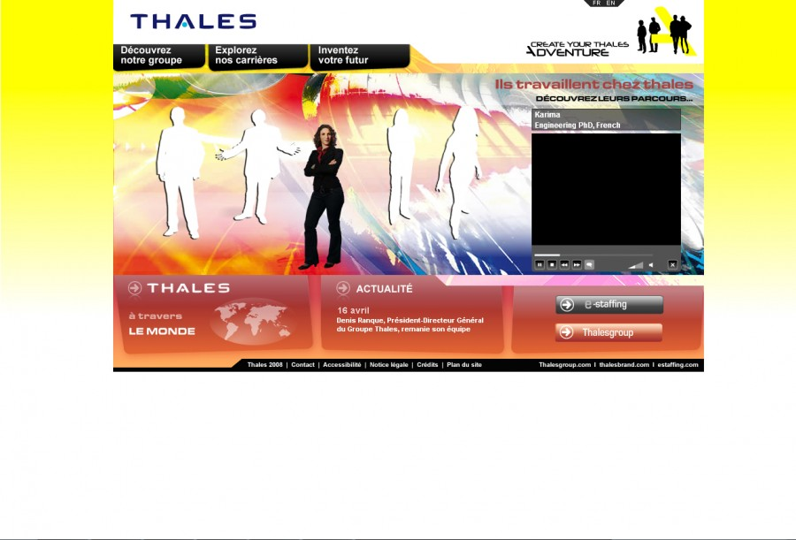 Capture d'écran du site de recrutement de Thales Group